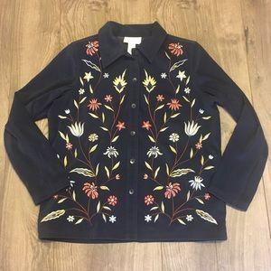 Susan Graver Embroidered Jacket Shirt EUC
